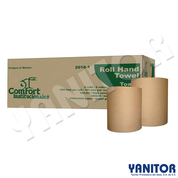 ROLL HAND TOWEL NATURAL 6 ROLLS / 600""